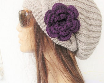 Hand Knit Hat- Womens hat -  Slouchy Beanie with Flower   Winter  Hat   Fall Winter Accessories  beret Oatmeal Beige  Autumn Fashion