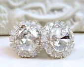 New Small Size- Crystal Clear Swarovski Crystals Framed with White Opal Halo Crystals on Silver Post Earrings