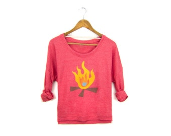 Campfire Sweatshirt - Oversized Lightweight Long Sleeve Pullover Raglan Sweater in Heather Fire Red Flames - S-XL