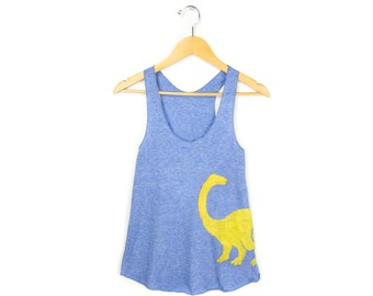 Dino Tank - Racerback Scoop Neck Swing Tank Top in Heather Blue and Yellow - Women's Size XS-2XL