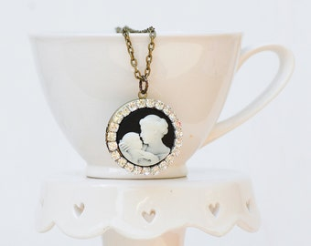 A Mother's LOVE  LOCKET Necklace Rhinestones Black & White Silhouette Cameo New Mom Jewelry