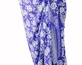Beach Sarong Wrap Skirt or Dress Womens Clothing Swimsuit Cover Up Batik Pareo Lavender and White Flowers Hawaiian Sarong Pareo Wrap Skirt