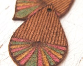 LAST ONES Summer Carnival - Rustic Striped Drop boho chic leather suede focal pyrography pendant handcrafted by Bethanne (ready to ship)