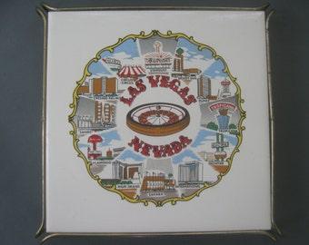 Vintage Hot Plate Tile with Stand Souvenir Las Vegas Casinos