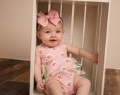 Baby and Newborn Ruffle Bubble Romper in Pink and Green, sizes NB to 24 months, by SunLoveShirts