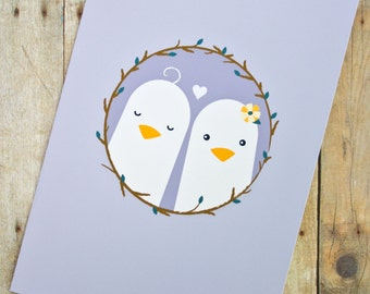 Lovebirds Lesbian/Same-Sex Wedding, Engagement, Anniversary Card