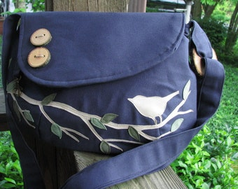 Bird Vegan Tote, Bird Purse, Canvas Tote,  Handmade Messenger, Bird Shoulder Bag, Eco-Friendly Bag