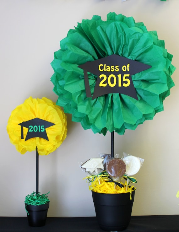 Graduation centerpiece tissue paper pom kit small and