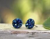 Glitter Stud Earrings - Blue Teal Black - 10mm Faux Druzy on Stainless Steel Posts