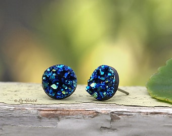 Glitter Stud Earrings - Blue Teal Black - 10mm Faux Druzy on Stainless Steel Posts