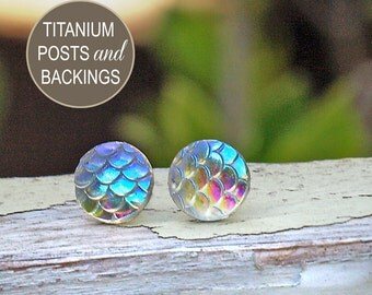 Iridescent Mermaid Scale Studs on Titanium Posts, Shimmer Earrings, 10mm, Clear Rainbow Dragon Scale Studs