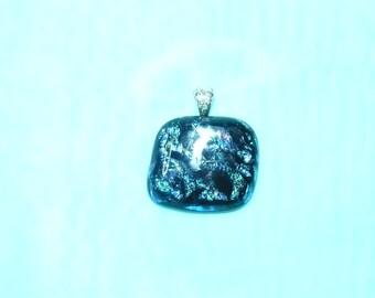 Deep Blue Dichroic Fused Glass Pendant