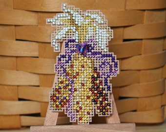 Indian Corn Cross Stitched and Beaded Ornament, Magnet, or Pin - Free U.S. Shipping