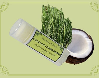COCONUT LEMONGRASS Lip Balm made with Shea Butter - .15oz Oval Tube