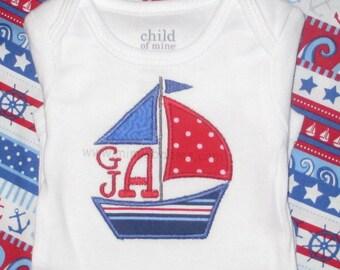 Sailboat Monogram Applique Toddler Boy, Infant Boy