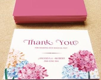 Printable Wedding Thank You Card, Hydrangea wedding, DIY printable thank you card, Print your Card, Printable thank you card, wedding card