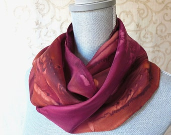 Silk Scarf Hand Painted in Brown and Burgundy