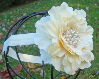 Ivory Flower Headband, Ivory Flower w/ Pearls & Crystals Headband or Hair Clip, The Eva, Baptism, Christening, Baby Child Girls Headband