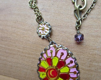 Summer Statement Necklace, vintage cotton candy and carnival fantasy, part of the Tara Collection,made of repurposed tea tin