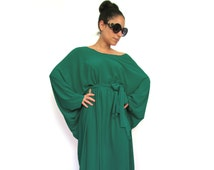 Long 'Tokyo Glam' Green Maxi Dress- Long sleeve gown, Plus size formal dress, Long women dress