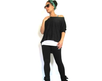 Black Crop Top- Stylish oversize black top, Loose jersey top with elbow length sleeves