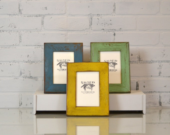 "4x6 Picture Frame in 1.5"" Wide Reclaimed Cedar and in Color OF YOUR CHOICE - 4x6 Inch Reclaimed Wood Frame - Upcyced Wood Frame"