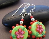 Whimsy Earrings - Colorful Glass Bead with Sterling Silver Earrings