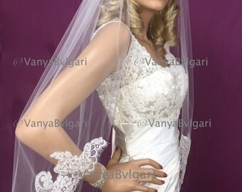 Chantilly lace veil with lace edge design starting at waist level, bridal veil in diamond white with gathered top on a comb,  wedding veil