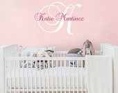 Wall Decal Name Nursery Wall Decal - Custom Monogrammed Wall Decal for Girl or Boy in any Color