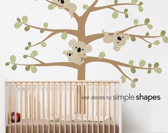 SALE Today ONLY!  Use Coupon Code SIMPLESHAPES10 for 10% off - Wall Decals Nursery Koala Tree Wall Decal Koala Hanging From Branches