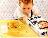 1954 Kellogg's Corn Flakes Advertisement Ad Print Poster Sign Cereal Ginger Boy Children Kitchen Dining Room Restaurant Wall Art Home Decor