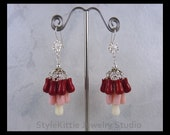 Carved Coral Flowers, Cluster Earring, 925 Sterling Silver, Red, Pink and White Coral, Multi Color, Dangle, Tulip Flower, Sunflower, Jewelry