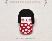 Kusama The Polka Dots Girl - Handmade Shrink Plastic Brooch or Magnet - Wearable Art - Made to Order