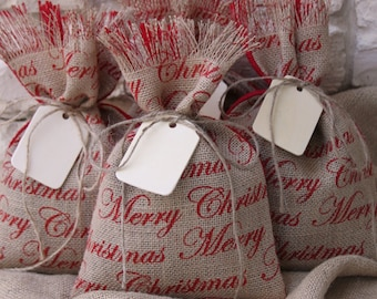 Burlap Gift Bags, Set of FOUR, Shabby Chic Christmas Wrapping, Red and Natural, Merry Christmas, Wood Gift Tag, Jute Twine Tie