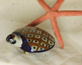 Turtle Figurine Mexico Signed by Artist Talavera style Pottery Ceramic Ocean Sealife Swimming Turtle Mexico cobalt blue brown diamonds
