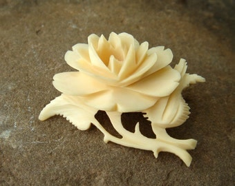 Vintage 1930s Ivory Celluloid Carved Rose Flower Brooch Pin - Marked DRGM - made in Germany