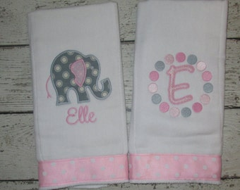 Monogrammed Burp Cloth Set for Baby Girls  - Pink & Grey Elephant - Embroidered Personalized Gift Set