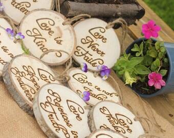 Set of TEN Corinthians Decorations 'Love is Patient, Love is Kind', 1.Cor.13: Rustic Wedding Aisle Tokens Aspen Log Slices