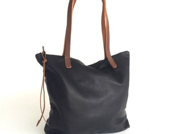 Black Leather Tote Bag with zipper. Crossbody bag. Laptop bag. black leather bag. leather book bag with brown leather straps- Sale