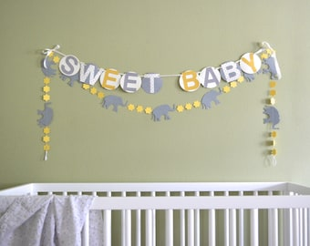 Elephants and Vintage Circles or Flowers Banner - custom colors available