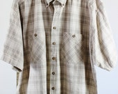 SALE - Vintage Khaki Plaid Shirt - Mens size XL