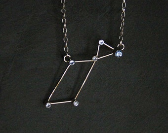 Lyra Constellation Necklace - sterling silver and synthetic blue spinel -  READY to SHIP