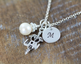 Personalized LPN Charm Initial Necklace, LPN Symbol Charm, Graduation Gift, Rod of Asclepius Symbol