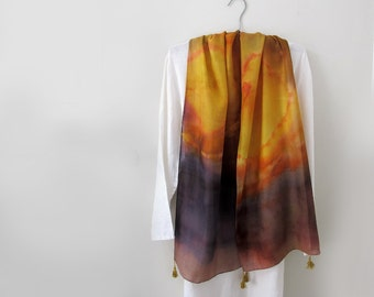 Silk /Wool Hand-Painted Scarf with Tassels Gold.Brown.Rust