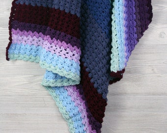 Crochet Baby blanket, Purple and Blue Stripes