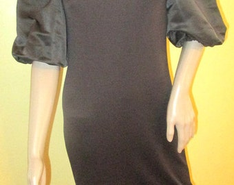 Brown Avant Garde Dress.  Puffy Sleeve Dress.  Vintage Bomshell Dress.