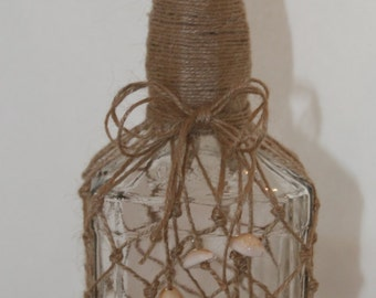 Whiskey Shell Bottle Knotted Jute Clear Beach Inspired Recycled