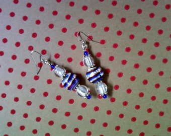 Red, White and Blue Patriotic Earrings (2094)