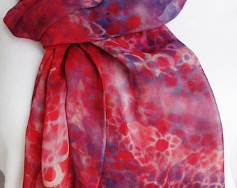silk chiffon scarf Red Navy Chain hand painted extra long unique wearable art
