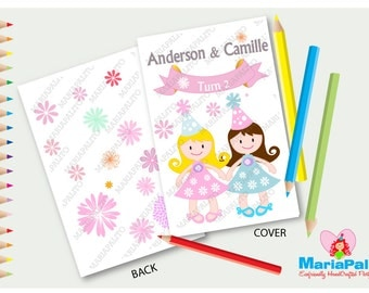 6 Girl Coloring Books, Twins Party Favor, Two Girl Doll, Flower Theme Personalized Coloring Books, Party Favors  A1189